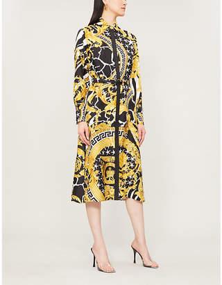 Versace Baroque-print silk-twill midi dress