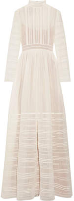 Valentino Tulle-trimmed Pintucked Cotton And Silk-blend Voile Gown - Ivory