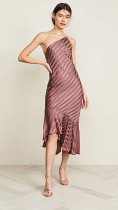 Mason by Michelle Mason One Shoulder Ruffle Hem Dress