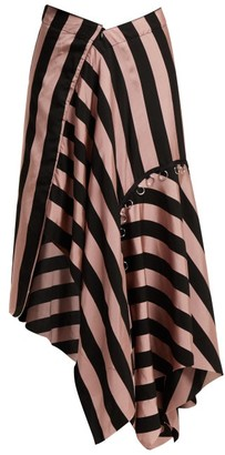 Marques Almeida Marques'almeida - Loop Decorated Asymmetric Draped Skirt - Womens - Black Pink