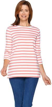 Denim & Co. Active Striped 3/4 Sleeve Round Neck Top