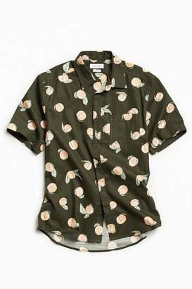 Urban Outfitters Cartoon Peaches Short Sleeve Button-Down Shirt