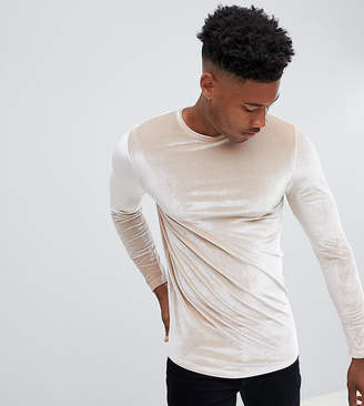 BEIGE Asos Design ASOS TALL Longline Muscle Long Sleeve T-Shirt In Velour With Curved Hem In