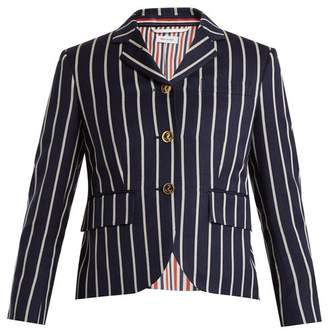 Thom Browne Single Breasted Striped Wool Blend Blazer - Womens - Navy Stripe