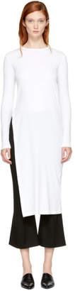 Rosetta Getty White Long Sleeve Split T-Shirt