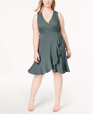 Soprano Trendy Plus Size Ribbed Ruffled Faux-Wrap Dress