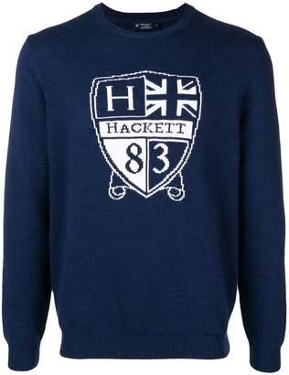 Hackett crest intarsia jumper