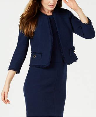 Anne Klein Fringe-Trim Tweed Jacket, Created for Macy's