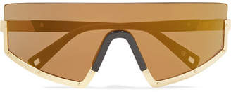 Westward Leaning Stun D-frame Gold-tone And Matte-acetate Sunglasses