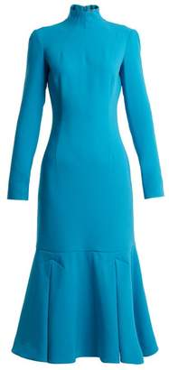 Emilia Wickstead Prudence High Neck Double Crepe Dress - Womens - Mid Blue