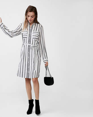 Express Striped Tie Front City Shirt Dress