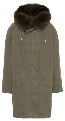 Yves Salomon Army Fur-trimmed cotton parka coat