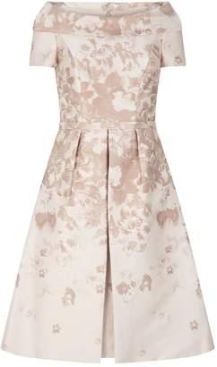 John Charles Jacquard A-Line Overlay Dress