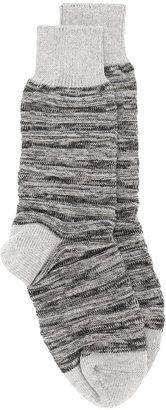 Issey Miyake Men ribbed knit socks $56.77 thestylecure.com