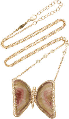 Jacquie Aiche One-Of-A-Kind Large Watermelon Tourmaline Butterfly Necklace
