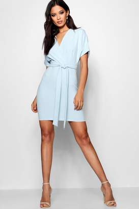 boohoo Kerry Wrap Over Belted Dress