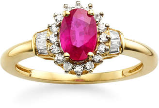 JCPenney FINE JEWELRY Lead Glass-Filled Ruby & 1/4 CT. T.W. Diamond 10K Gold Ring