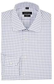 Barneys New York Men's Checked Cotton Poplin Shirt - Blue