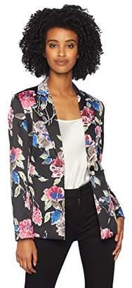 Tahari by Arthur S. Levine Women's Printed Satin Long Sleeve one Button Jacket
