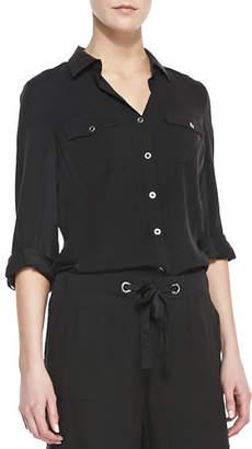Go Silk Petite Silk Safari Shirt with Tab Sleeve Detail
