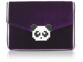 Les Petits Joueurs Lulu Panda Purple Velvet Clutch