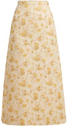 Biba The Vampire's Wife A Line Brocade Skirt - Womens - Yellow Multi