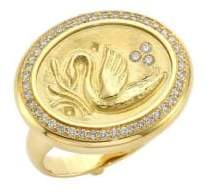 Temple St. Clair Swan Diamond& 18K Yellow Gold Coin Ring