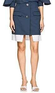 Ji Oh Women's Layered Stretch-Twill Skirt - Blue