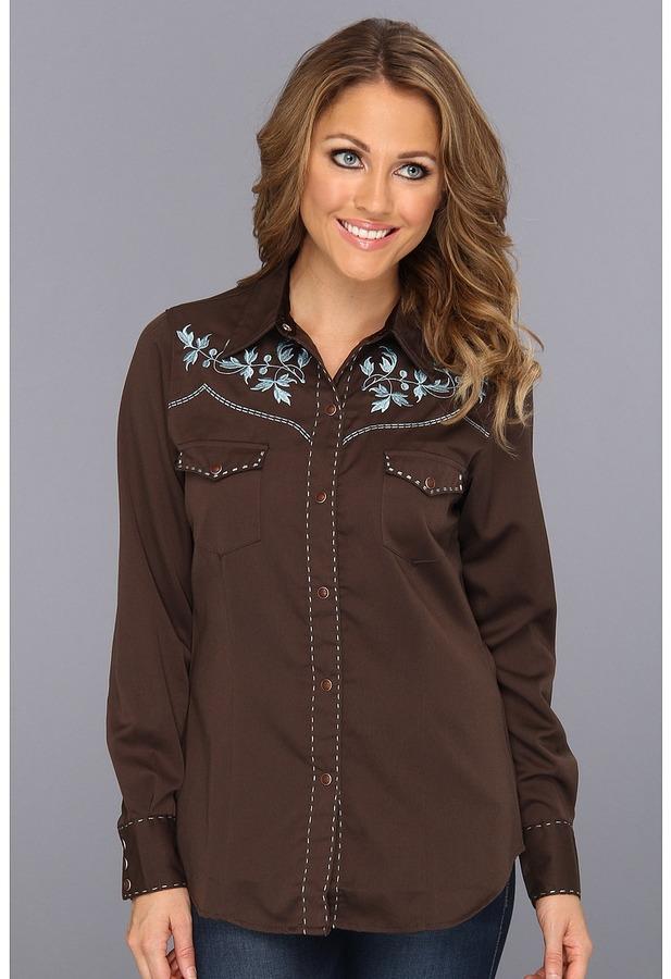 Roper Twill Shirt w/ Leaf Design (Brown) - Apparel