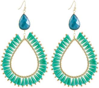 Panacea Green Crystal Teardrop Dangle Earrings