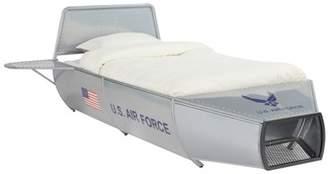 ACME Furniture ACME Aeronautic Storage Metal Bed in Silver Finish, Multiple Sizes