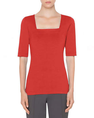 Akris Punto 1/2-Sleeve Square-Neck Tee
