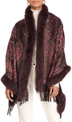 Gorski Paisley Print Cashmere Stole w/ Fox Fur Trim