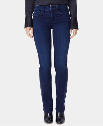 NYDJ Marilyn Ball Contrast-Seam Straight Jeans