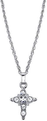 "Symbols of Faith Silver-Tone Crystal Cross Pendant Necklace 16"" Adjustable"