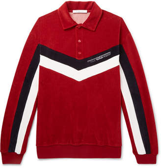 Givenchy Chevron-Striped Cotton-Blend Velvet Polo Shirt