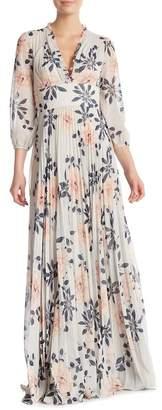 ML Monique Lhuillier Floral Print Pleated Gown