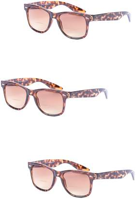 Mass Vision 3 Pair of Classic Wayfarer Bifocal Sunglasses - Outdoor Reading Sunglasses (, 2.5)