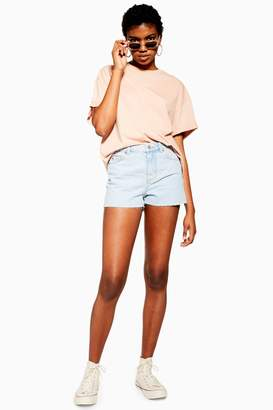 Topshop Womens Petite Premium Bleach Mom Shorts - Bleach Stone