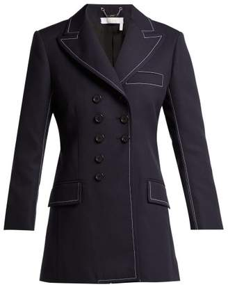 Chloé Stitched Double Breasted Twill Blazer - Womens - Navy
