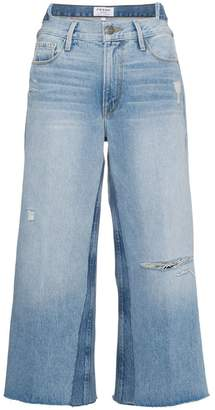 Frame Le Reconstructed cropped patchwork jeans