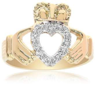 14K Yellow Gold 0.15 Ct Diamonds Irish Claddagh Ring Size 8