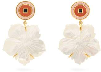 Lizzie Fortunato Monte Carlo Mother Of Pearl Flower Earrings - Womens - White
