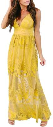 pujingge-CA Women V-Neck Floral Lace Open Back Party Long Maxi Dress XS