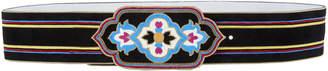 Etro Striped Plaque Buckle Belt