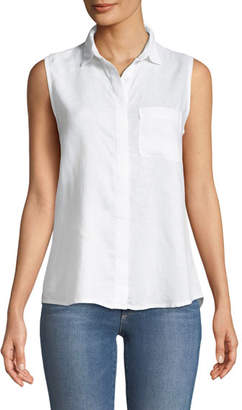 DL1961 Premium Denim N7th Kent Sleeveless Button-Down Lace-Up Back Top