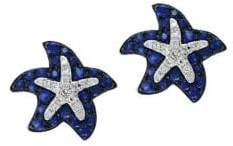 Effy 14K White Gold Sapphire and Diamond Starfish Stud Earrings
