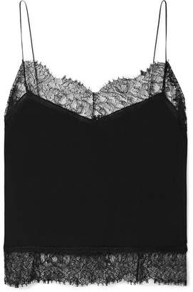 Saint Laurent Lace-trimmed Silk-georgette Camisole - Black