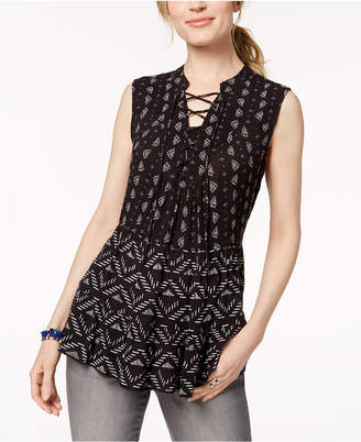 Style&Co. Style & Co Sleeveless Lace-Up Peasant Top, Created for Macy's