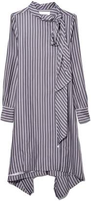 See by Chloe Shirt Dress with Tie Neck in Blue/White